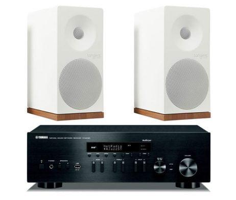 stereo receiver Yamaha s skandinavski zvočniki Tangent
